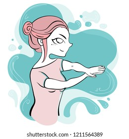 Vector illustration for typography, print for t-shirt with cute girl doing exercises, qigong.