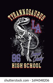vector illustration of tyrannosaurus rex with text