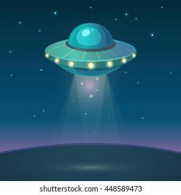 Vector illustration of UFO in dark night sky