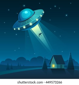 Vector illustration of UFO in dark night sky abducts human from the house.