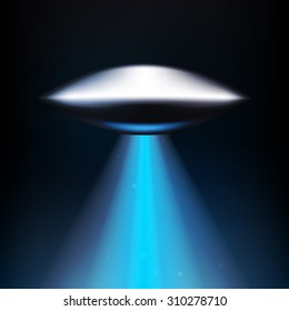 Vector illustration UFO. Laser beam. Unknown flying object. Alien Abduction.  EPS 10