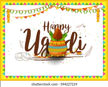 Vector Illustration Of Ugadi With decorated Kalash On Typographical Background.