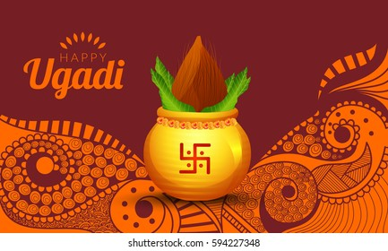 Vector Illustration Of Ugadi With decorated Kalash On Floral Background.