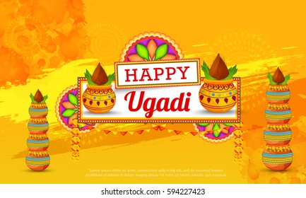 Vector Illustration Of Ugadi With decorated Kalash On Grungy Background.