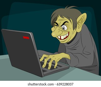 Vector illustration of a ugly internet troll