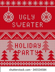 Vector Illustration of Ugly sweater party seamless Pattern for Design, Website, Background, Banner. Merry christmas Knitted Retro cloth with Snowflake Element Template