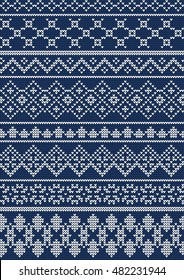 Vector Illustration of Ugly sweater seamless Pattern for Design, Website, background, Banner. Merry christmas Knitted Retro cloth with Snowflake Element Template