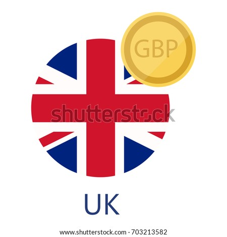 Vector Illustration Uk Round Flag Currency Stock Vector Royalty