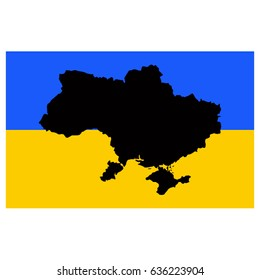 vector illustration of Ukraine flag and map