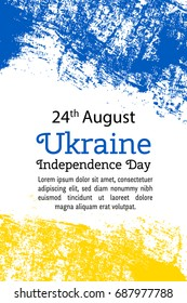 Vector illustration Ukraine Independence Day, Ukrainian flag in trendy grunge style. 24 August design template for poster, banner, flyer, greeting,invitation card.Independence day cards. National day