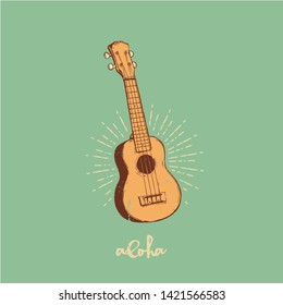 Vector illustration - Ukulele, summer time, Hawaii
