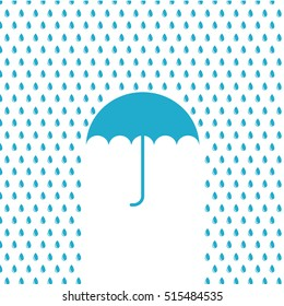 Vector illustration of umbrella in the rain
