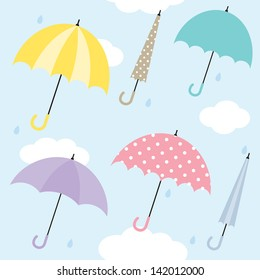 Vector illustration of umbrellas. Also works as seamless pattern.