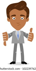 Vector illustration of an undecided asian cartoon businessman giving thumbs up and down isolated on white background