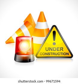 vector illustration of under construction cone with flashing light