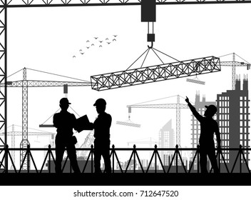 Vector illustration of Under construction worker silhouette at white