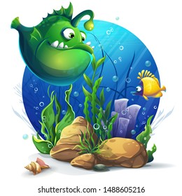 Vector illustration Undersea world with funny green fish. Marine Life Landscape - the ocean and the underwater world with different inhabitants. For design websites and mobile phones, printing.