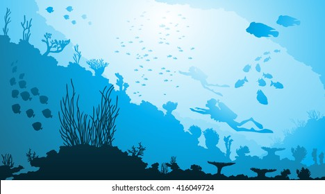 Vector illustration of Underwater diving and marine life