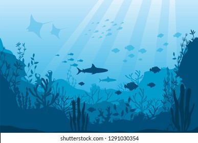 Vector illustration of underwater ocean fauna with coral reef, seaweed, algae, mantas, plants, fishes. Silhouette ocean bottom. Marine underwater life. Sea, seascape, seafloor, undersea background.
