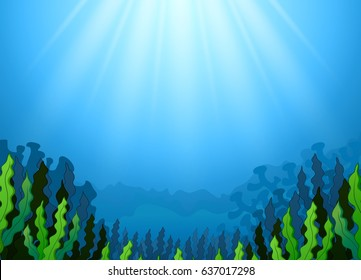 Vector illustration of Underwater scene with seaweed