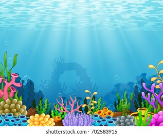 Vector illustration of Underwater scene with tropical coral reef