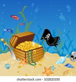Vector illustration of an underwater treasure chest