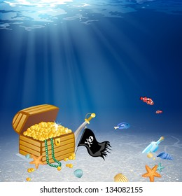 Vector Illustration of an Underwater Treasure Chest and Pirate Elements