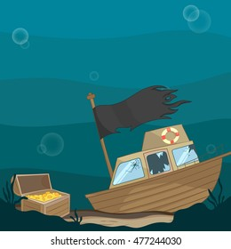 Vector illustration of an underwater wreck with a box of gold coins on the seafloor. Crash of the ship in the ocean with broken windows. A broken wooden boat on the ocean bottom.