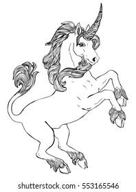 Vector illustration of unicorn black and white