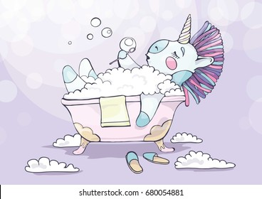 Vector illustration of a unicorn in a bubble bath. The unicorn in cartoon style bubble.