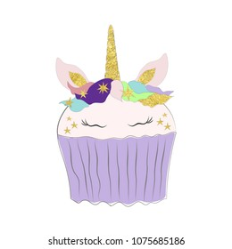 Vector illustration of unicorn cupcake card. Cute magic horse in cartoon style. Isolated on white background.