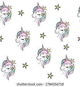 Vector illustration with unicorn head on a white background seamless pattern