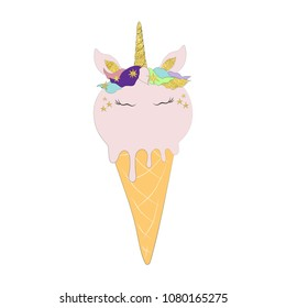 Vector illustration of unicorn ice cream cone card with gold texture. Cute magic horse in cartoon style. Isolated on white background.