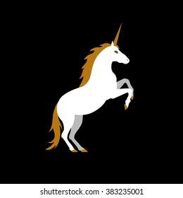 Vector illustration of unicorn on black background. Element for design.