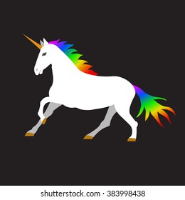 Vector illustration of unicorn on black background. Element for design.