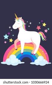 A vector illustration of Unicorn and Rainbow