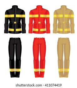 Vector illustration of uniform for fireman isolated on white background.