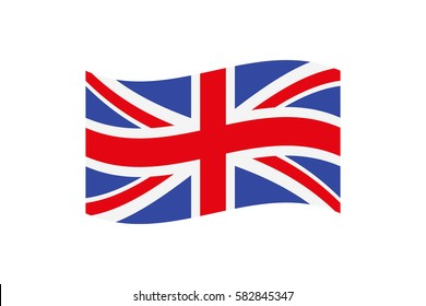 Vector illustration of the Union Jack that is the national flag of the United Kingdom of Great Britain and Northern Ireland on white background.