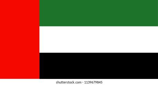 Vector illustration of United Arab Emirates national flag.