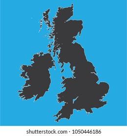 vector illustration of United Kingdom map . blue background. eps10.