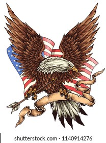 vector illustration of united states of america eagle ribbon arrow flag