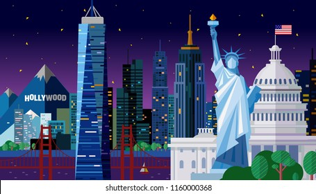 vector illustration of United States of America landmarks, travel america template design,concept for the web or polygraphy of the USA