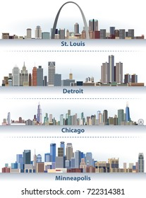 vector illustration of United States city skylines; St. Louis, Detroit, Chicago and Minneapolis