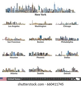 vector illustration of United States largest cities skylines. Navigation, location and travel icons; flag and map of United States of America