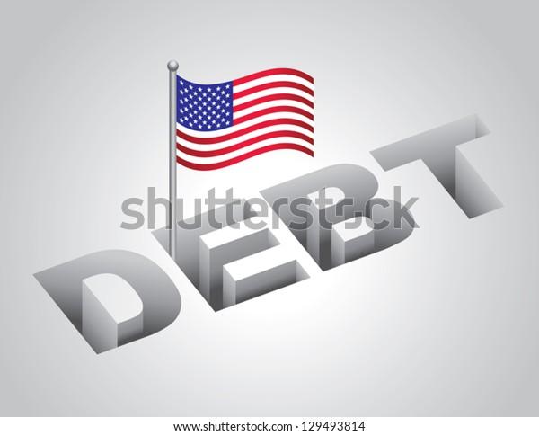 vector illustration of United States national debt concept