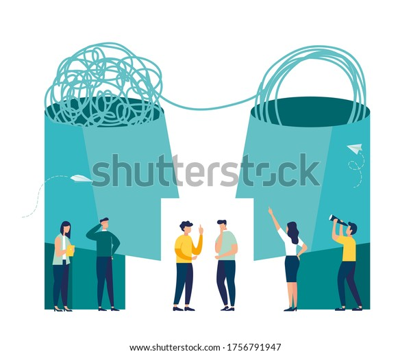 Vector illustration, unraveling difficult situations, the concept of social psychiatry, psychological therapy vector