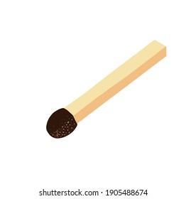 Vector illustration unused match stick isolated on white background. Unlit matchstick. Match icon. Vector illustration on white background. For cards, posters, decor, t shirt design, logo.