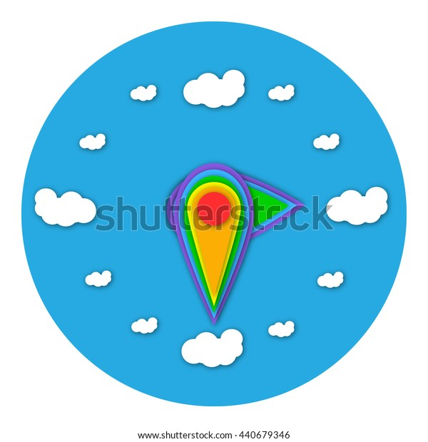 Vector illustration of  unusual hours. Material design style. Rainbow colors.