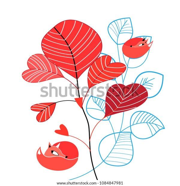 Vector illustration of an unusual pattern of red foxes on plant branches