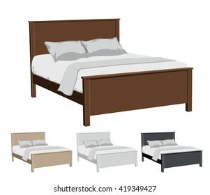 Vector illustration of upholstered furniture - beds, in four different colors: beige, brown, white and black with white linens